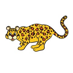 Illustration of cute cartoon leopard.