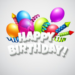 Title Happy Birthday with balloons and firecrackers. Vector