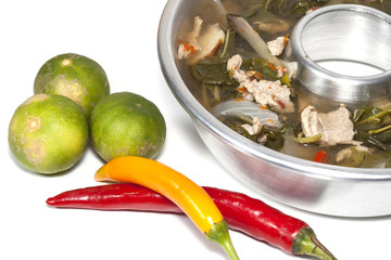 Hot and spicy Tom Yam in Pot and chilli