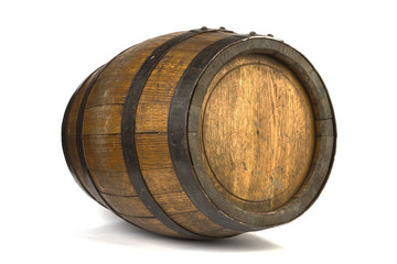Wood barrel with steel rings on white