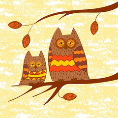 Two cute owls on a branch. Vector illustration.