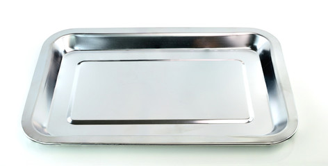 Empty silver tray on white background