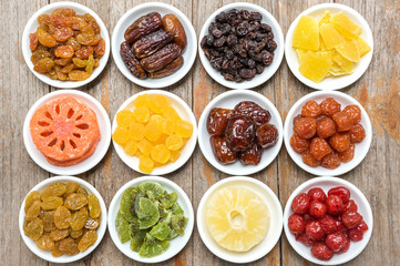 Collection of dried fruits in a ceramic bowl