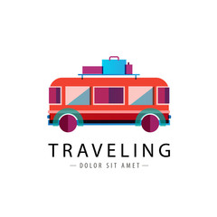 vector retro bus logo, traveling icon