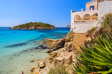 Wall Mural - View of beautiful beach in Camp de Mar, Majorca island, Spain