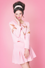 Model In Retro Style Over Pink