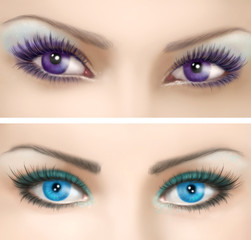 Woman's eyes  with colorful  evening make-up