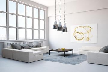 Sofa mit Teppich im Wohnzimmer im Loft