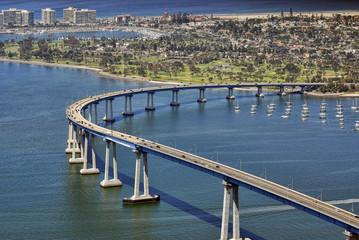 San Diego's Coronado Bay Bridge - aerial view