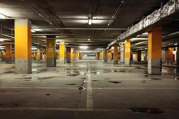 Parking garage underground interior, industrial building