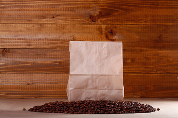 Coffee beans and paper bag
