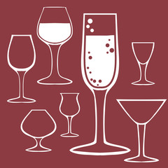 Hand drawing sketch. Set of goblet, wineglass. Vector
