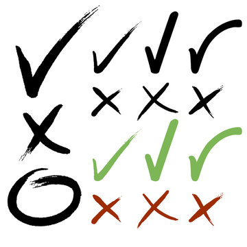 Hand drawn Check mark buttons. Vector illustration.