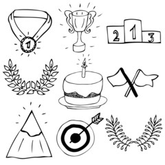 Hand drawn trophy and awards icons set