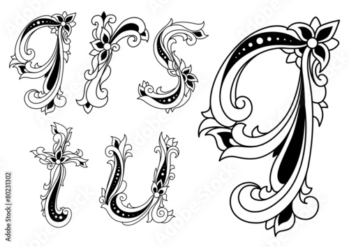 """""""Floral Alphabet Letters In Retro Style"""" Stock Image And"""