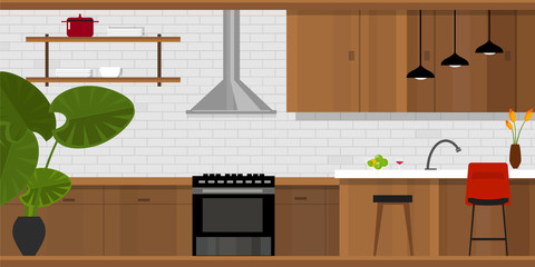 kitchen interior with wood interior in vector illustration wood