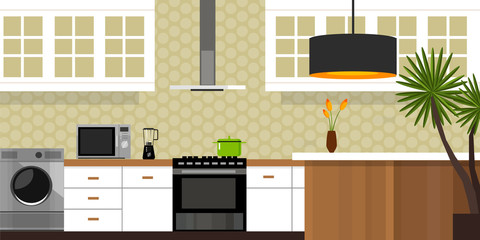 kitchen interior with wood interior in vector illustration soft