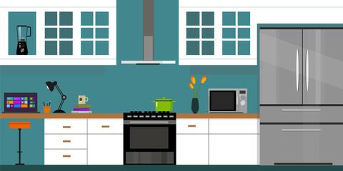 kitchen interior with wood interior in vector illustration blue