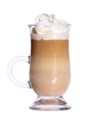 Coffee Latte in glass irish mug with wafer isolated