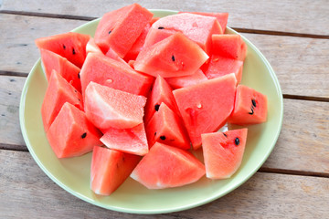 Fresh Watermelon on the table.