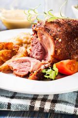 Pork knuckle with fried sauerkraut