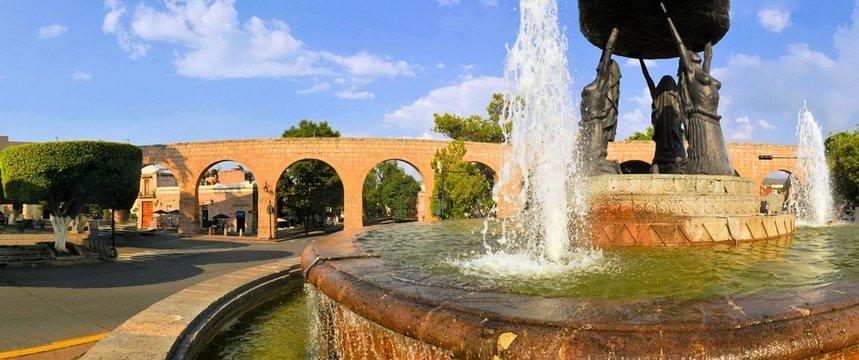 Spanish colonial aquaeduct in Morelia, Central Mexico