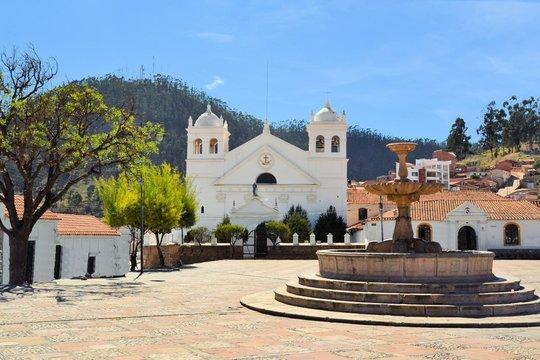 White colonial architecture in Sucre, Bolivia