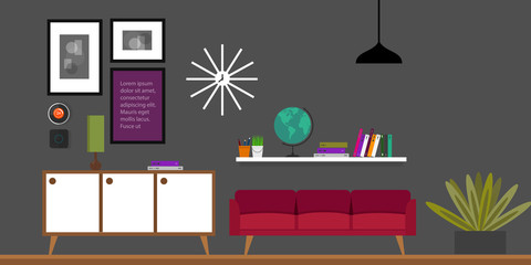 living room interior, furniture in flat vector illustration
