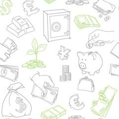 Money symbols doodle sketch vector seamless pattern