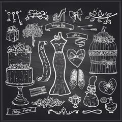 Chalkboard wedding bridal elements set.