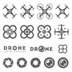 Set of aerial drone footage emblems and icons