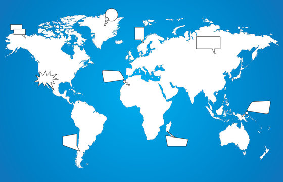 World map with speech bubbles