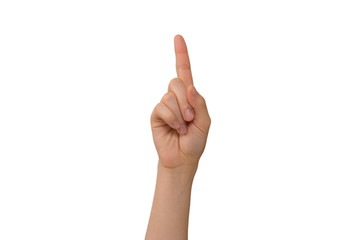 Young Lady's Right Index Finger Pointing