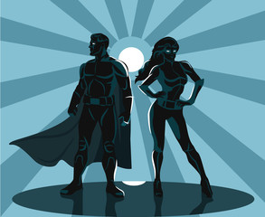 Superheroes silhouette vector illustration