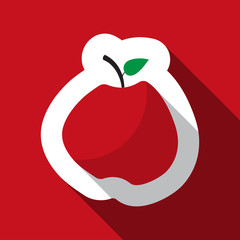 icon - red apple and long shadow
