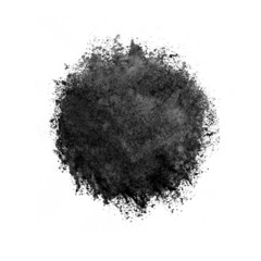 Colorful watercolor circle, black drop on white background.