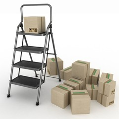 Cardboard boxes and ladder on white background