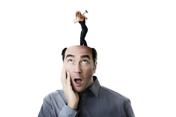 woman getting mad ontop of mans head