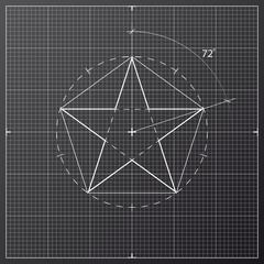 drawing star pentahedron