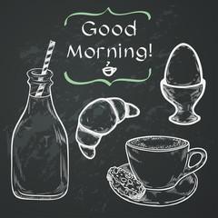 Hand sketched breakfast elements