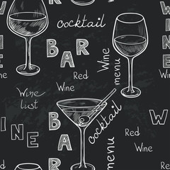 Seamless pattern with wine and cocktail glasses