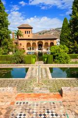 Wall Mural - Alhambra de Granada. El Partal, amazing garden with some ponds
