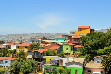 Colorful buildings on the hills of Valparaiso, Chile