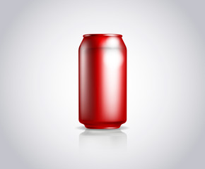 Red metal can. Vector illustration of cold drink can isolated
