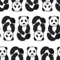 Cute hand drawn pandas seamless pattern.