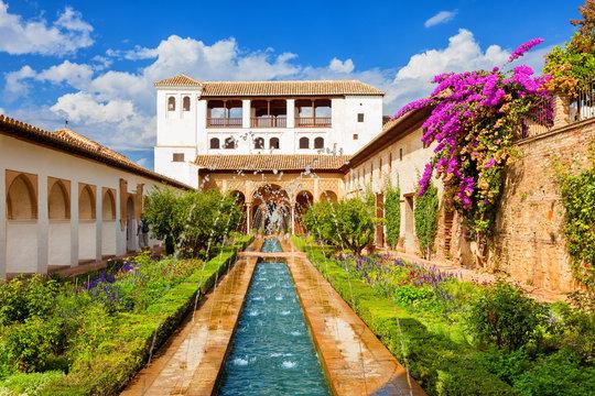 Alhambra de Granada. Generalife's fountain and gardens