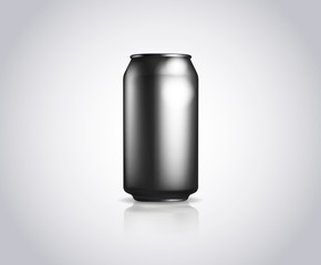 Black metal can. Vector illustration of cold drink can isolated
