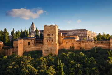 Fototapete - Alhambra de Granada. Exterior view of Nasrid Palaces