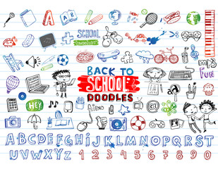 School doodles, vector set