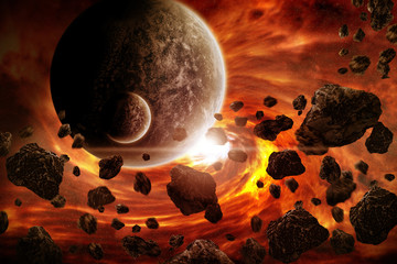 Obraz Apokalipsa wybuchu planety - fototapety do salonu